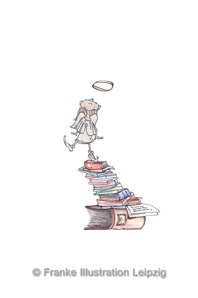 Zeichnungen und Illustrationen Jens Thomas Franke - Engel auf Büchern